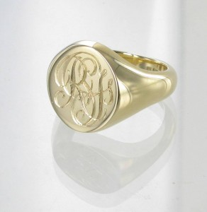 Monogram Monday. Gold Signet Ring with Monogram Engraved